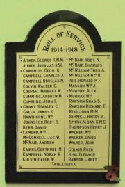 Sandymount Presbyterian Great War Roll of Honour