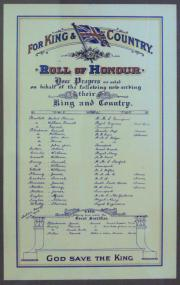 Ringsend Methodist Great War Roll of Honour