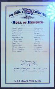 Ringsend Methodist Great War Roll of Honour