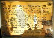 Communion rails plaque, S transept
